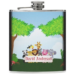 Animals Genuine Leather Flask (Personalized)