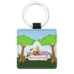Animals Genuine Leather Rectangular Keychain (Personalized)