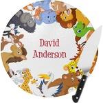 Animals Round Glass Cutting Board (Personalized)
