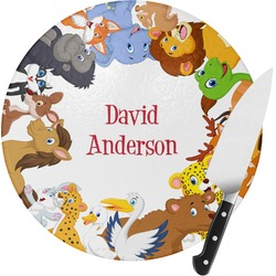 Animals Round Glass Cutting Board (Personalized)