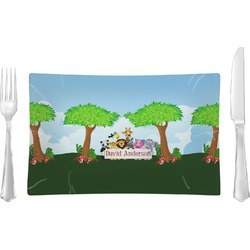 Animals Glass Rectangular Lunch / Dinner Plate - Single or Set (Personalized)