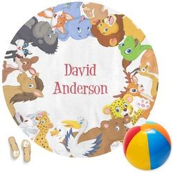 Animals Round Beach Towel (Personalized)