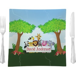 """Animals Glass Square Lunch / Dinner Plate 9.5"""" - Single or Set of 4 (Personalized)"""
