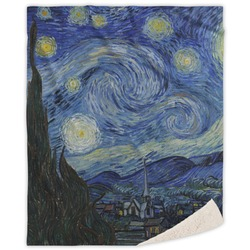 "The Starry Night (Van Gogh 1889) Sherpa Throw Blanket - 50""x60"""