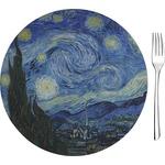 "The Starry Night (Van Gogh 1889) Glass Appetizer / Dessert Plates 8"" - Single or Set"