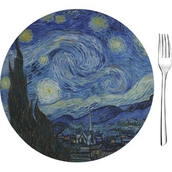 "The Starry Night (Van Gogh 1889) Glass Appetizer / Dessert Plates 8"" - Single or Set"