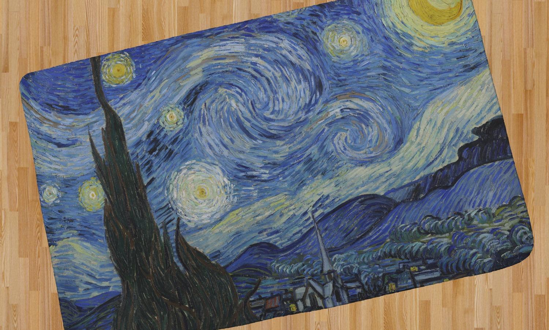 The Starry Night Van Gogh 1889 Area Rug Youcustomizeit