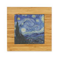 The Starry Night (Van Gogh 1889) Bamboo Trivet with Ceramic Tile Insert