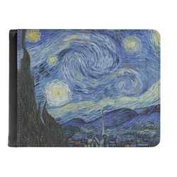 The Starry Night (Van Gogh 1889) Genuine Leather Men's Bi-fold Wallet
