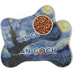The Starry Night (Van Gogh 1889) Bone Shaped Dog Food Mat