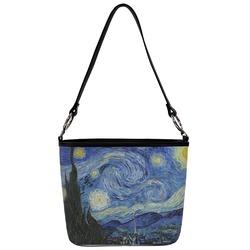 The Starry Night (Van Gogh 1889) Bucket Bag w/ Genuine Leather Trim