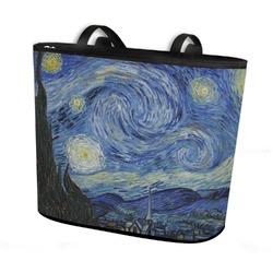 The Starry Night (Van Gogh 1889) Bucket Tote w/ Genuine Leather Trim
