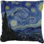 The Starry Night (Van Gogh 1889) Faux-Linen Throw Pillow
