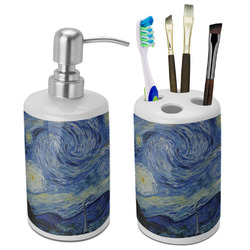 The Starry Night (Van Gogh 1889) Bathroom Accessories Set (Ceramic)