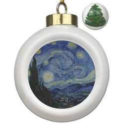 The Starry Night (Van Gogh 1889) Ceramic Ball Ornament - Christmas Tree