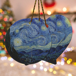 The Starry Night (Van Gogh 1889) Ceramic Ornament - Double Sided