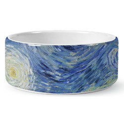 The Starry Night (Van Gogh 1889) Ceramic Dog Bowl