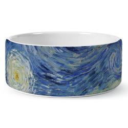 The Starry Night (Van Gogh 1889) Ceramic Dog Bowl
