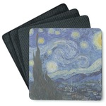 The Starry Night (Van Gogh 1889) 4 Square Coasters - Rubber Backed