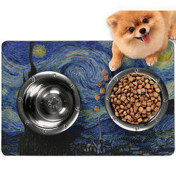 The Starry Night (Van Gogh 1889) Dog Food Mat - Small