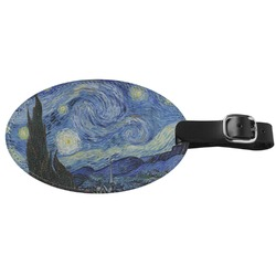 The Starry Night (Van Gogh 1889) Genuine Leather Oval Luggage Tag