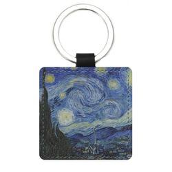 The Starry Night (Van Gogh 1889) Genuine Leather Rectangular Keychain