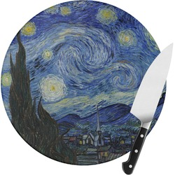 The Starry Night (Van Gogh 1889) Round Glass Cutting Board
