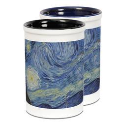 The Starry Night (Van Gogh 1889) Ceramic Pencil Holder - Large