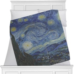 "The Starry Night (Van Gogh 1889) Fleece Blanket - Twin / Full - 80""x60"" - Single Sided"