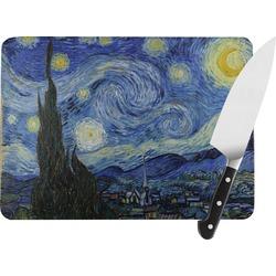 "The Starry Night (Van Gogh 1889) Rectangular Glass Cutting Board - Medium - 11""x8"""