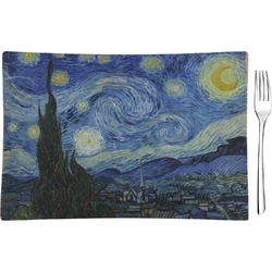 The Starry Night (Van Gogh 1889) Rectangular Glass Appetizer / Dessert Plate - Single or Set