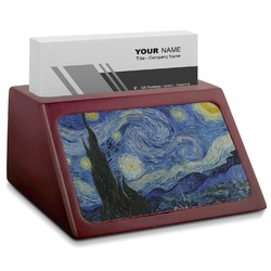 The Starry Night (Van Gogh 1889) Red Mahogany Business Card Holder