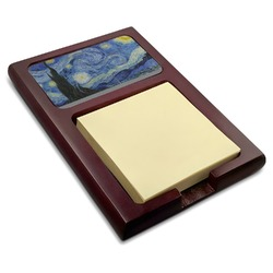 The Starry Night (Van Gogh 1889) Red Mahogany Sticky Note Holder