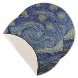 The Starry Night (Van Gogh 1889) Round Linen Placemat