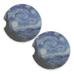 The Starry Night (Van Gogh 1889) Sandstone Car Coasters - Set of 2