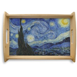 The Starry Night (Van Gogh 1889) Natural Wooden Tray - Small