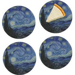 "The Starry Night (Van Gogh 1889) Set of 4 Glass Appetizer / Dessert Plate 8"""