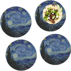 """The Starry Night (Van Gogh 1889) Set of 4 Glass Lunch / Dinner Plate 10"""""""