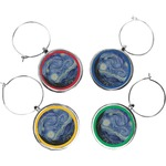 The Starry Night (Van Gogh 1889) Wine Charms (Set of 4)