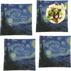 """The Starry Night (Van Gogh 1889) Set of 4 Glass Square Lunch / Dinner Plate 9.5"""""""