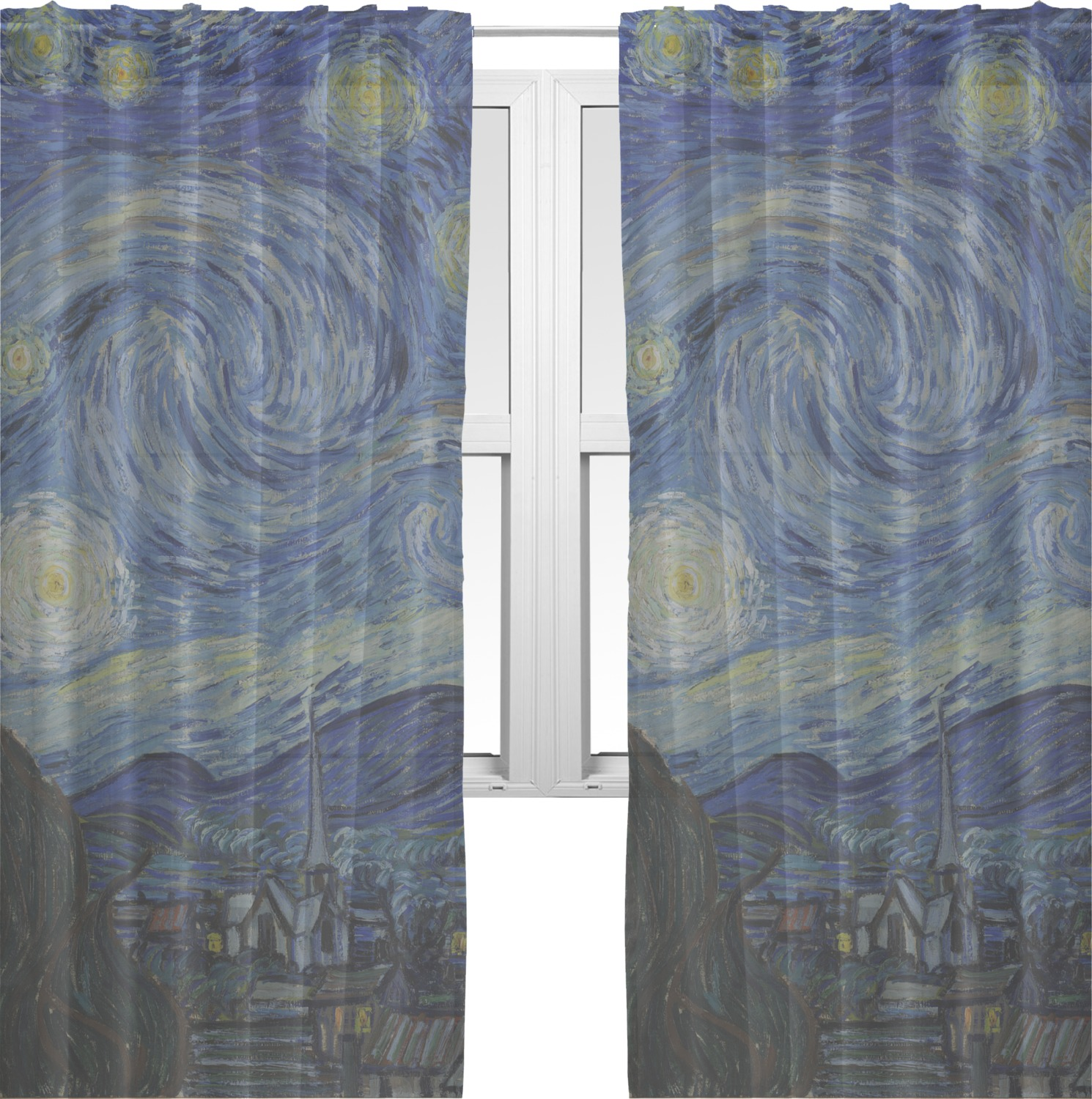 The starry night van gogh 1889 sheer curtains 60 x84 for Painting sheer curtains