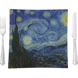 "The Starry Night (Van Gogh 1889) Glass Square Lunch / Dinner Plate 9.5"" - Single or Set of 4"