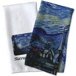 The Starry Night (Van Gogh 1889) Waffle Weave Kitchen Towel