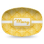 Tribal Diamond Plastic Platter - Microwave & Oven Safe Composite Polymer (Personalized)