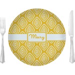 """Tribal Diamond Glass Lunch / Dinner Plates 10"""" - Single or Set (Personalized)"""