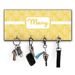 Tribal Diamond Key Hanger w/ 4 Hooks (Personalized)