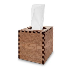 Tribal Diamond Wooden Tissue Box Cover - Square (Personalized)