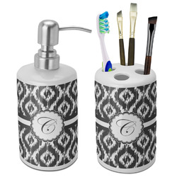 Ikat Ceramic Bathroom Accessories Set (Personalized)