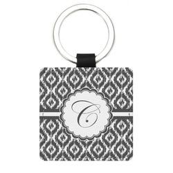Ikat Genuine Leather Rectangular Keychain (Personalized)