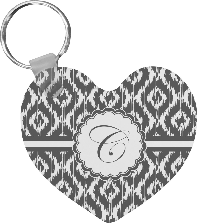 ikat heart keychain personalized youcustomizeit